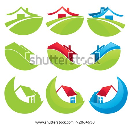 houses in the mountains, vector collection of property symbols - stock vector