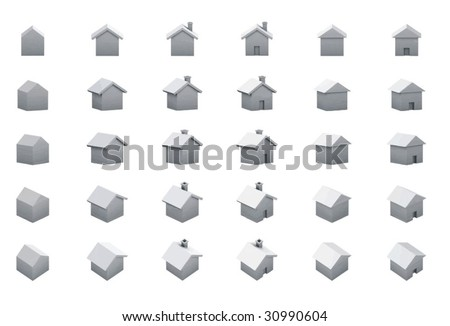 houses multiple 3d views - stock vector