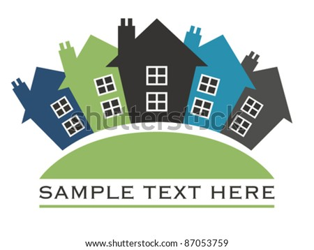 Houses or real estate on a a hill design. - stock vector