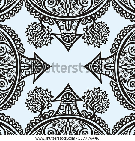 Houses pattern background vector illustration - stock vector