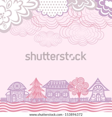 Houses pattern sky clouds nature background vector illustration - stock vector