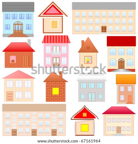 houses sketches set - stock vector