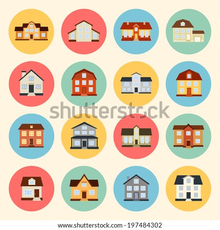 houses vector colorful flat style icons set. template elements for real estate - stock vector