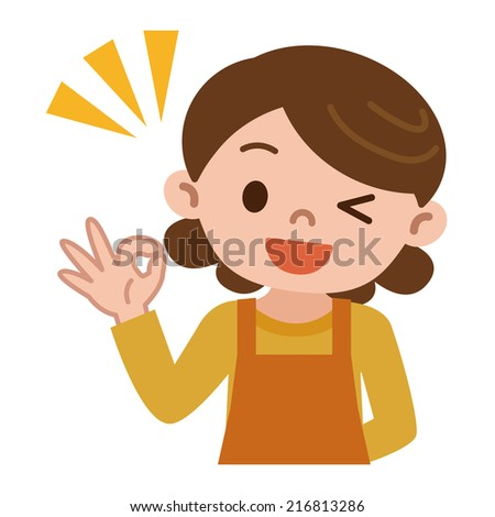 Housewife OK sign - stock vector