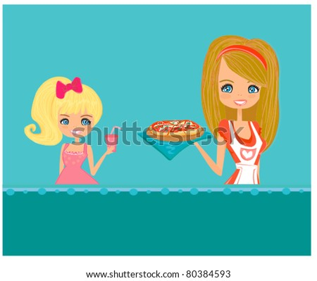 Housewife serving pizza - stock vector