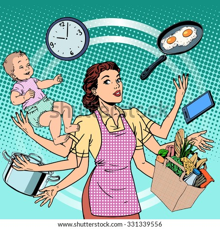 Housewife work time family success woman pop art retro style. A woman plans the time and manages to do everything around the house. Child care, work via smartphone, cooking, household chores. - stock vector