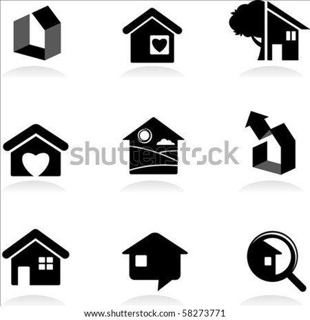 Housing and real-estate icons - stock vector