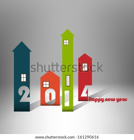 Housing background happy new year 2014 - stock vector