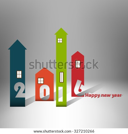 Housing background happy new year 2016 - Design Cover Calendar Design - Typography - stock vector