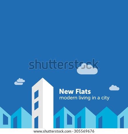 Housing market flat design illustration - New flats in the city - stock vector
