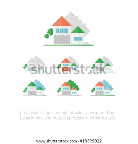 Housing - variants of houses on a white background.