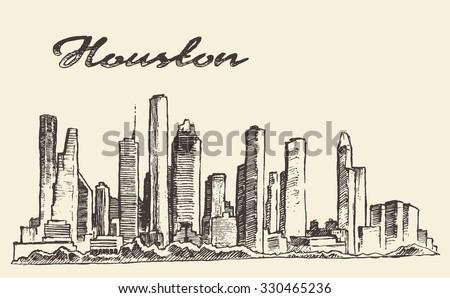 Houston skyline, big city architecture, engraving vector illustration, hand drawn - stock vector