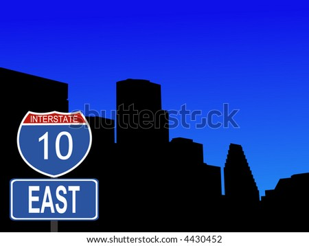 Houston skyline with interstate 10 sign