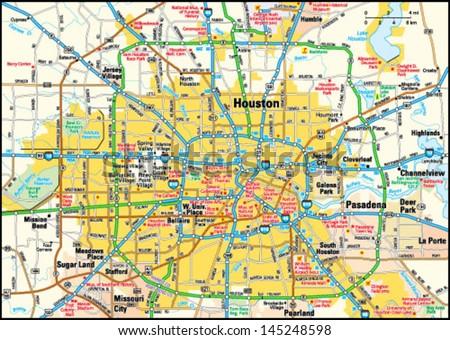 Houston Texas Area Map Stock Vector (Royalty Free) 145248598 ...