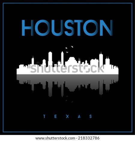 Houston, USA skyline silhouette vector design on black background. - stock vector