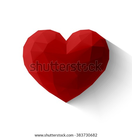 Hover Red 3 D Origami Heart Icon Stock Vector 383730682 Shutterstock