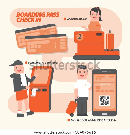 How to Boarding Pass Check-in -vector - stock vector