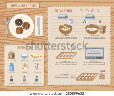 how to make home made cookies, infographics background and elements. traditional and vintage style. Can be used for  layout, banner, web design, cookbook, brochure template. Vector illustration - stock vector