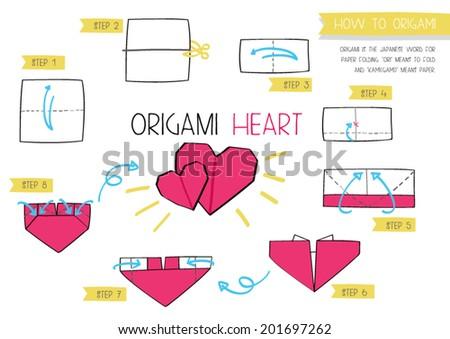 How Make Origami Hearts Stock Vector Royalty Free 201697262