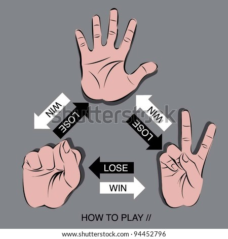 how to play rock scissors paper makes you can win the games - stock vector