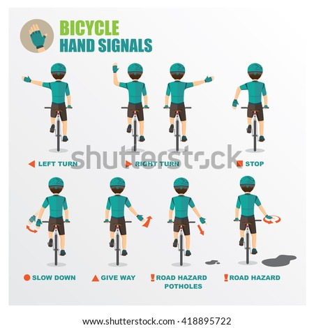 how to signal your intentions when cycling bicycle Cartoon vector - stock vector