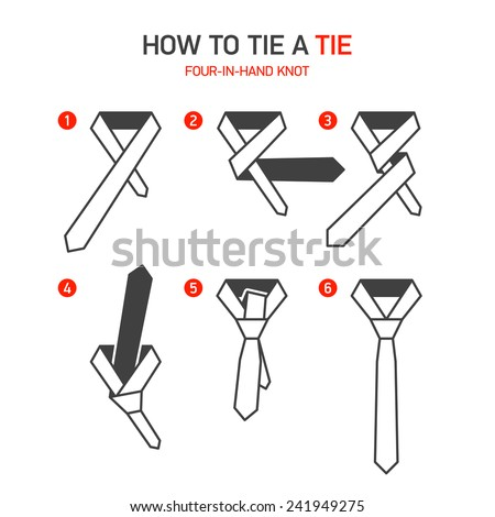 How tie fourinhand tie knot instructions stock vector 241949275 how tie fourinhand tie knot instructions stock vector 241949275 shutterstock ccuart Choice Image