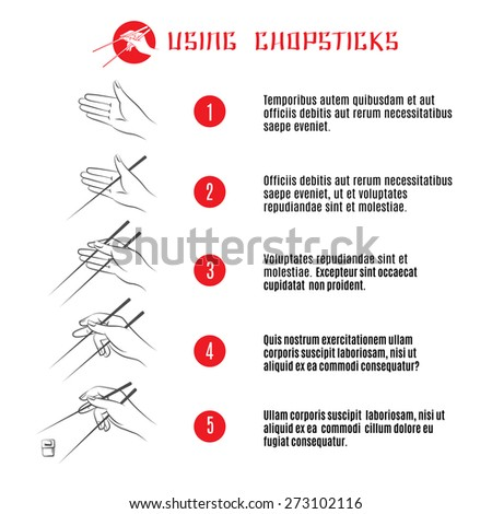 How to use chopsticks. Banner order and instruction, restaurant traditional japanese or chinese food. Vector illustration - stock vector