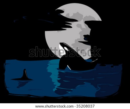 howling whales - stock vector