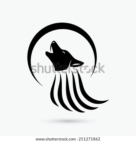 Howling wolf sign - vector illustration  - stock vector