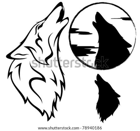 howling wolf vector illustration - outline, silhouette, against moon disk - stock vector