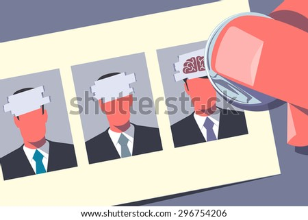 HR lottery. Hand using coin is scratching a card with images of candidates. Human resource management concept. Retro style illustration. - stock vector