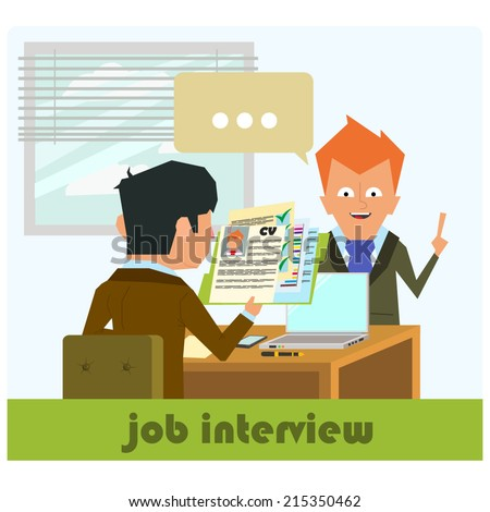 HR recruitment. interview with the candidate positions. job interview. vector illustration in a flat style. - stock vector