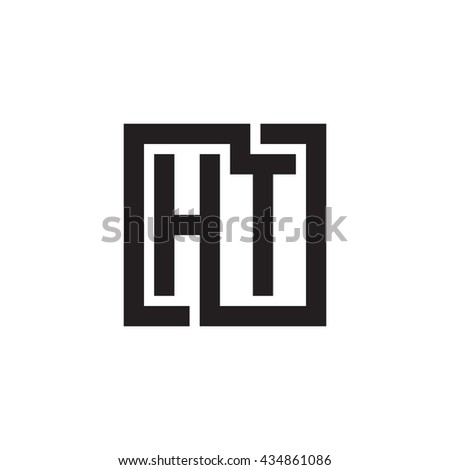 HT initial letters looping linked square monogram logo