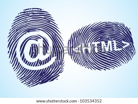 HTML and EMail symbol in thumbprint