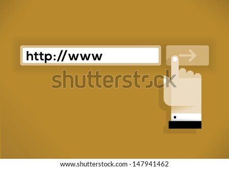 "http://www Internet address with businessman hand cursor icon over ""Go"" button."
