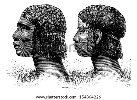 Huambo Man and Woman of Angola in Southern Africa, engraving based on the English edition, vintage illustration. Le Tour du Monde, Travel Journal, 1881 - stock vector