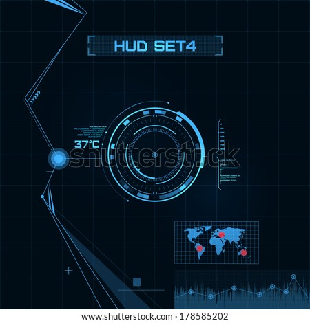 HUD and GUI set. Futuristic User Interface. Set 4 - stock vector