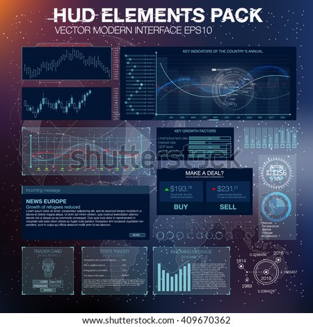 HUD UI UX for trading business app. Abstract futuristic HUD and Infographic elements. Virtual space. Future touch interface. Hud exchange trading tools. Set elements for web or motion design - stock vector