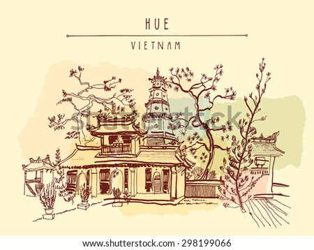 Hue, Vietnam, Southeast Asia. Thien Mu pagoda. Historic temple. Religious building. Former imperial capital's unofficial symbol. Vector freehand drawing. Horizontal postcard template, retro style - stock vector