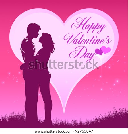 hug lover with heart,happy valentine's day - stock vector