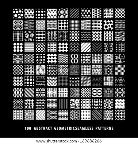 Huge abstract background seamless pattern collection. Set of black and white patterns.  - stock vector