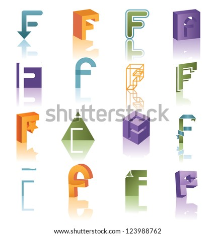 Huge Alphabet Icon Symbol Collection Letter F