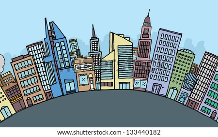 huge cartoon city skyline stock vector hd royalty free 133440182 rh shutterstock com cartoon city skyline background cartoon city skyline night