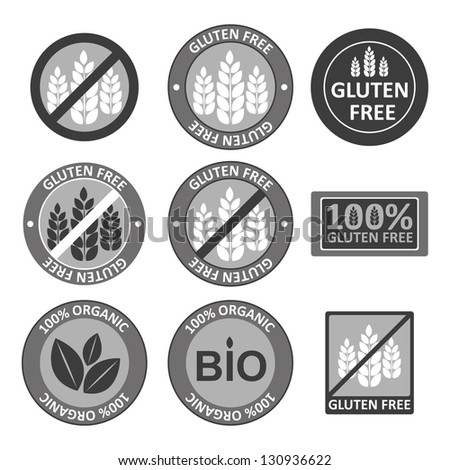 Huge collection gluten free bio seals - stock vector