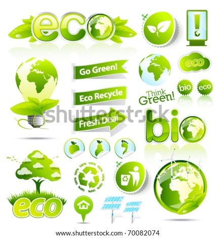 Huge collection of green eco and bio vector elements - stock vector