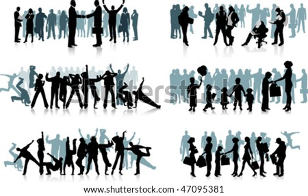Huge crowd. All elements and textures are individual objects. Vector illustration scale to any size. - stock vector