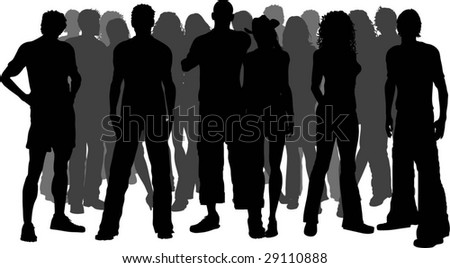 Huge crowd of people - stock vector