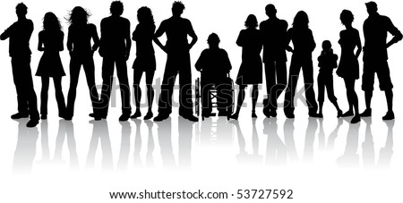 Huge crowd of people - stock vector