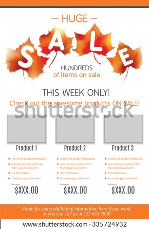 Huge Fall Sale Product Flyer Template Stock Vector