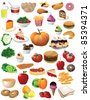 HUGE food collection 40 different detailed foods isolated on a white background. EPS 8 vector with no open shapes, strokes, or transparencies, grouped for easy editing. - stock vector